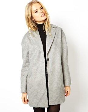Asos Fluffy Cocoon Coat - Light gray