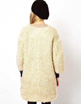 Asos Longline Curly Faux Fur Coat