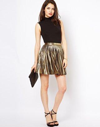 Beloved Metallic Pleated Skirt - Gold