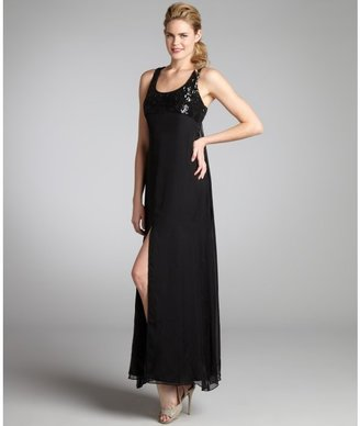 ABS by Allen Schwartz black silk chiffon cutout back sequin maxi dress