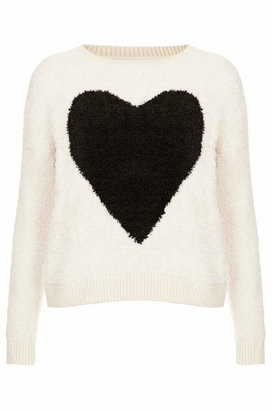 Topshop Fluffy cream jumper with love heart motif to the front centre. 94% acrylic, 6% nylon. machine washable.