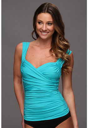 Badgley Mischka Solids Wide Strap Draped Front Tankini