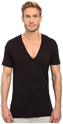 2xist Pima Slim Fit Deep V-Neck T-Shirt (Black) Men's T Shirt