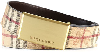 Burberry Haymarket Barnsfield Plaque Belt, Classic Check