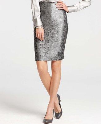 Ann Taylor Petite Metallic Animal Jacquard Pencil Skirt