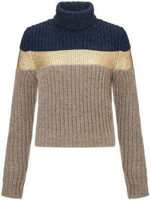 Antonio Marras Gold Stripe Turtleneck Jumper