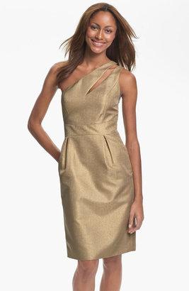 Monique Lhuillier ML Bridesmaids One Shoulder Metallic Woven Sheath Dress (Nordstrom Exclusive)