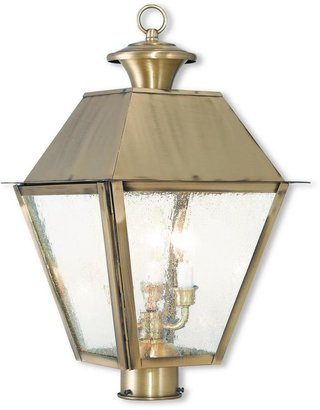 Livex Lighting Mansfield 3-Light Outdoor Antique Brass Post Light