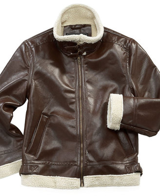 KC Collections Kids Jacket, Boys Faux-Leather B2 Bomber Jacket