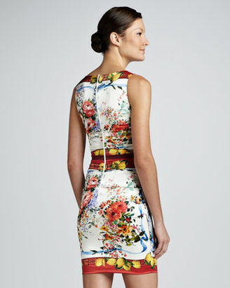 Dolce & Gabbana Ruched Floral and Lemon-Print Dress