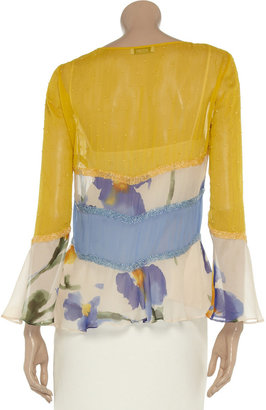 Moschino Cheap & Chic Moschino Cheap and Chic Bead-embellished silk-chiffon blouse