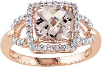 JCPenney FINE JEWELRY Genuine Morganite and Diamond 10K Rose Gold Ring