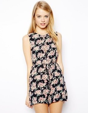 Asos Shift Playsuit in Floral Print - Multi