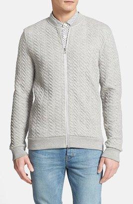 Topman Mini Cable Jersey Zip Sweatshirt