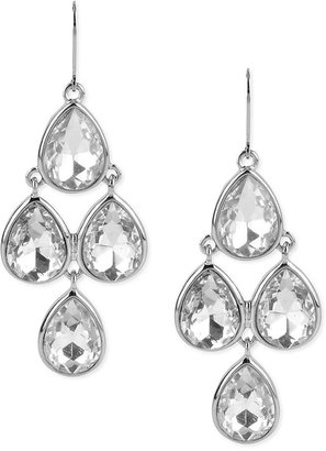 Kenneth Cole New York Earrings, Silver-Tone Crystal Teardrop Chandelier Earrings