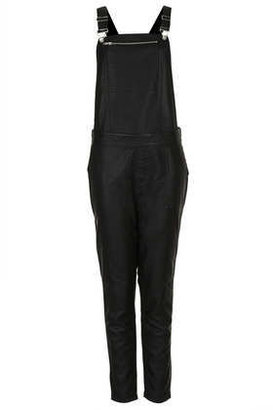 Topshop Leather look dungaree