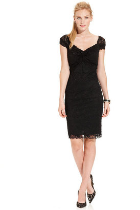Marina Short-Sleeve Beaded Lace Sheath