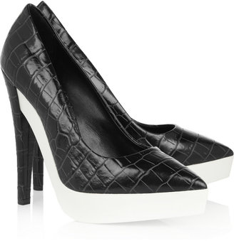 Stella McCartney Croc-effect faux leather and rubber pumps