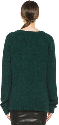 BLK DNM Loose Fit V-Neck Sweater in Pine Green
