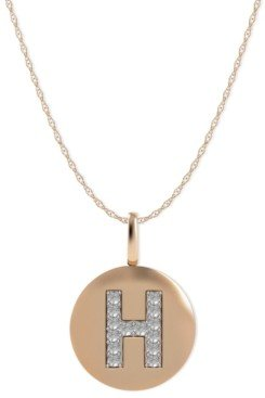 Macy's 14k Rose Gold Necklace, Diamond Accent Letter H Disk Pendant