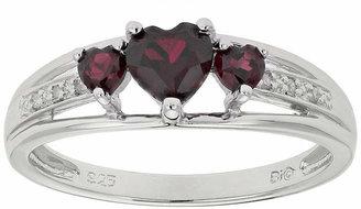 FINE JEWELRY Genuine Garnet & Diamond-Accent Heart-Shaped 3-Stone Sterling Silver Ring