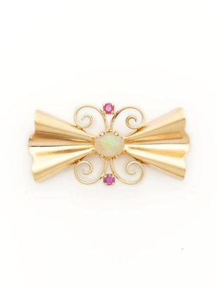 Tiffany & Co. Gold, Ruby, & Opal Geometric Bow Brooch