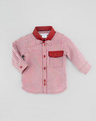 Little Marc Jacobs Gingham Woven Shirt with Bow Tie, Burgundy, 3-18 Months