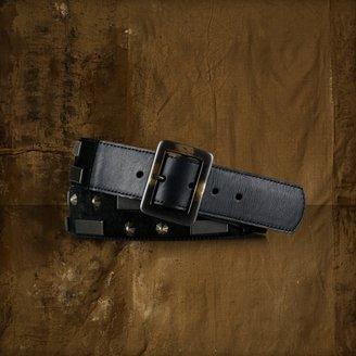 Denim & Supply Ralph Lauren Metal-Plate Haircalf Belt