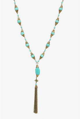 Torrid Antique Gold & Turquoise Beaded Y-Chain Necklace