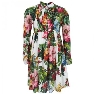 Dolce & Gabbana Floral Jersey Pleated Dress