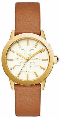 Tory Burch Womens Three-Hand Gigi Goldtone and Lugagge Leather Watch