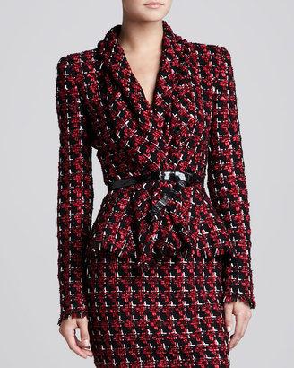 Oscar de la Renta Tweed Shawl-Collar Jacket, Ruby