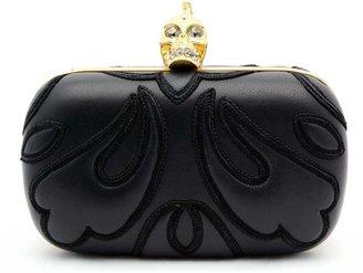"Alexander McQueen Punk Baroc"" Black Leather Skull Box Clutch"