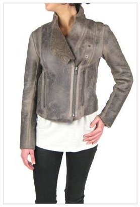 Helmut Lang Weathered Shearling Leather Jacket in Mute