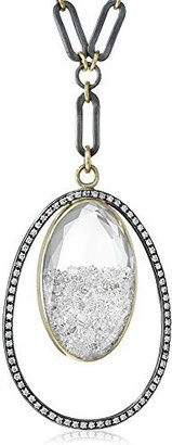"Moritz Glik Kaleidoscope"" 18K Gold and Oxidized Silver Floating Diamond Oval Pendant Necklace"