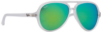 Ray-Ban Cats 5000 59mm Matte Transparent Sunglasses in 19-Green
