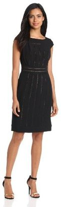 Adrianna Papell Women's Crepe With Lace Inserts Dress