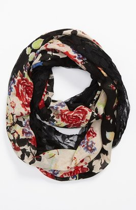Lulu Sheer Floral Print Infinity Scarf Womens Floral Black One Size One Size