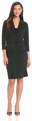 Chaus Women's Long Sleeve Cowl Neck Cheetah Dress