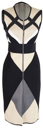 Octavio Pizarro Geometric Tri-Colored Dress