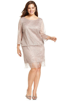 SL Fashions Plus Size Dress, Three-Quarter-Sleeve Fringed Drop-Waist