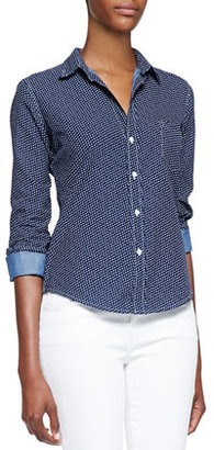 Frank & Eileen Barry Heart Print Button-Front Blouse, Stone Washed Indigo