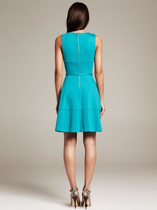 Banana Republic Belted Ponte Fit-and-Flare Dress