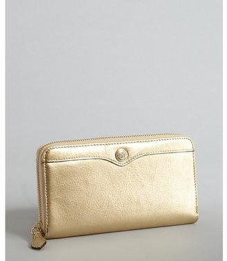 Rebecca Minkoff gold cracked leather continental wallet