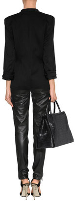 McQ by Alexander McQueen Black Leather Zip Detailed Pants