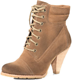 Dorothy Perkins Taupe lace up work boots