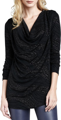 Alice + Olivia Spencer Shimmery Draped Top