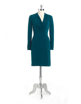 Kay Unger Pleated Crepe Jersey Dress