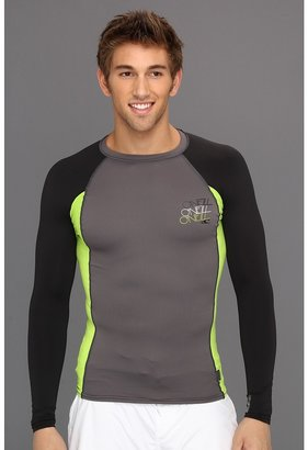 O'Neill Skins Graphic L/S Crew (Graph/Lime/Black) - Apparel