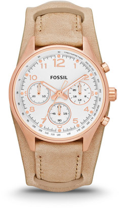 Fossil Flight Chronograph Leather Watch - Sand